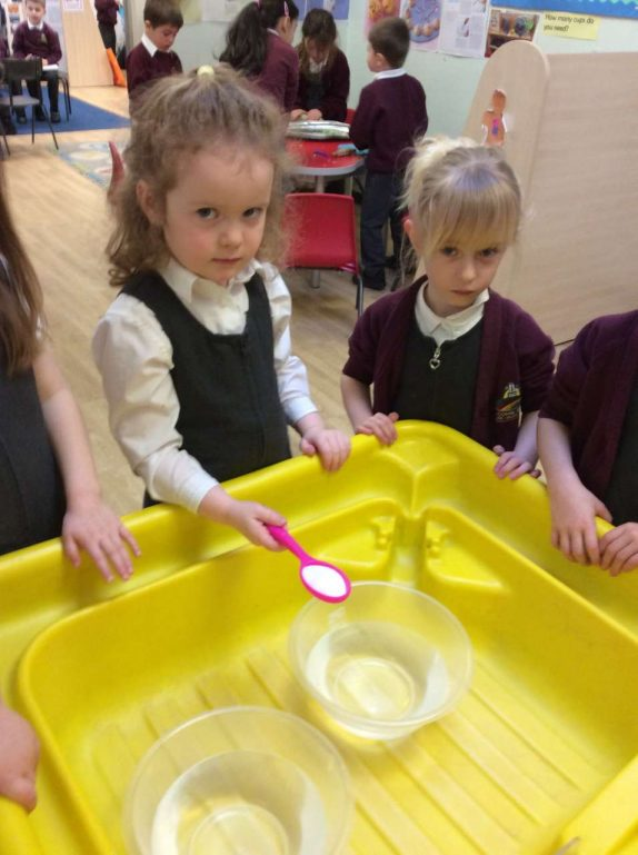 We have been investigating what happens when we put eggs in a bowl with water and what happens when we put eggs in a bowl of salt water.  We tried to predict what might happen. It was great fun!